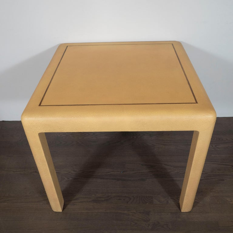 Signed Mid-Century Modern Ostrich Game Table in Ostrich by Karl Springer In Excellent Condition For Sale In New York, NY