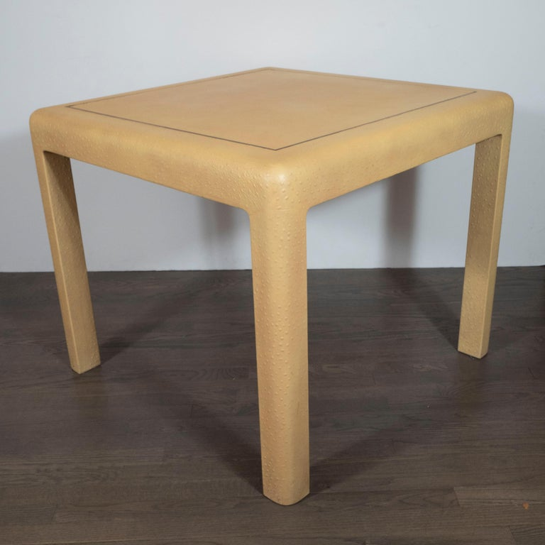 Brass Signed Mid-Century Modern Ostrich Game Table in Ostrich by Karl Springer For Sale
