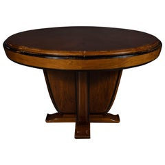 Art Deco Skyscraper Style Bookmatched Walnut & Black Lacquer Dining/Centre Table