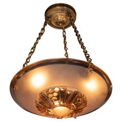 French Art Deco Copper Hued Glass Pendant with Gilt Brass Fittings