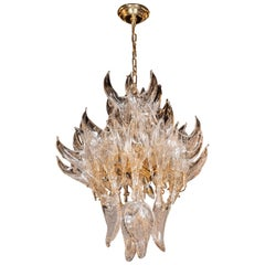 """Mid-Century Modern Hand Blown Murano Clear Glass """"Flame"""" Chandelier by Mazzega"""