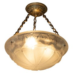 French Art Deco Handblown Glass Pendant with Gilt Brass Fittings, Muller Frerès