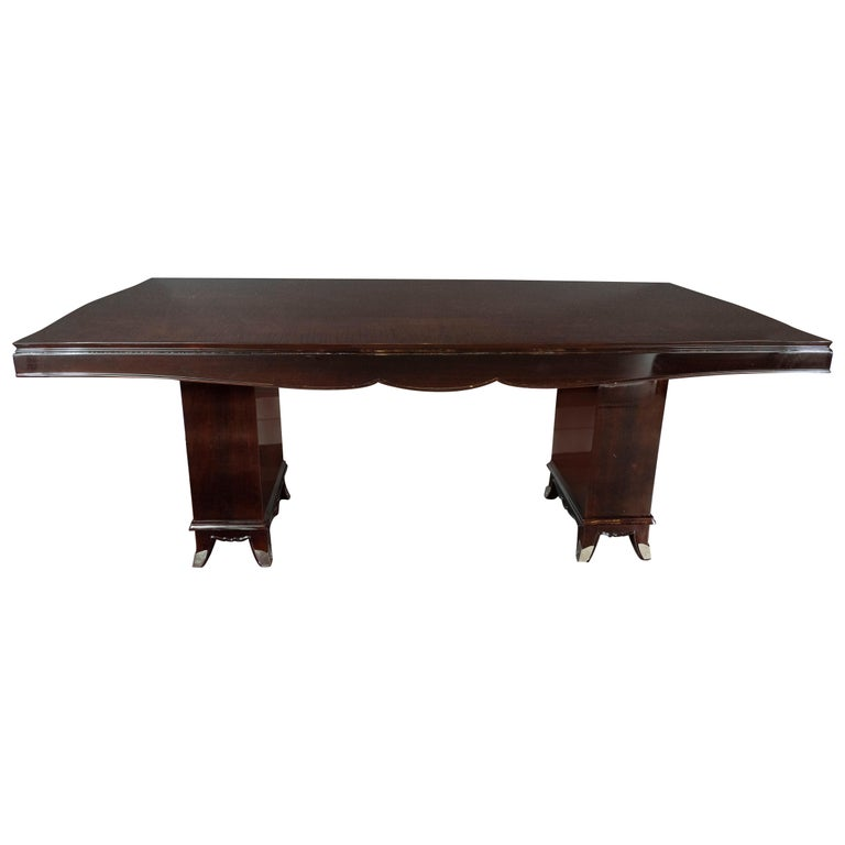Art Deco Inlaid Mahogany Dining Table with Nickeled Sabots, Manner of Adnet For Sale