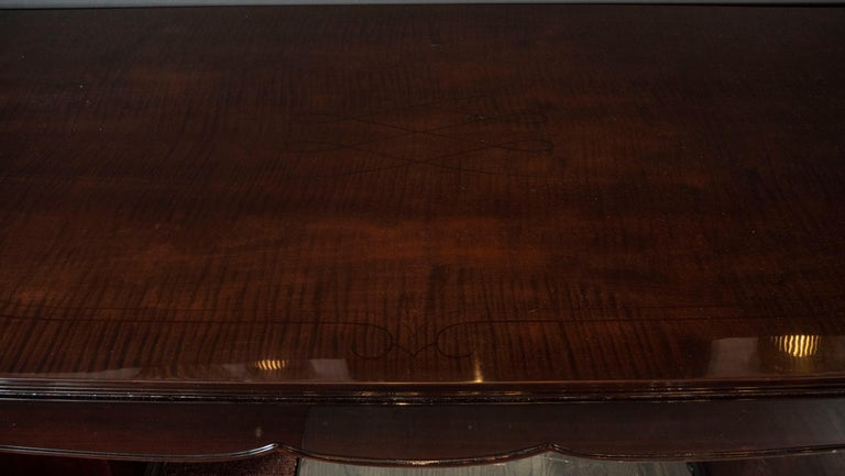 French Art Deco Inlaid Mahogany Dining Table with Nickeled Sabots, Manner of Adnet For Sale