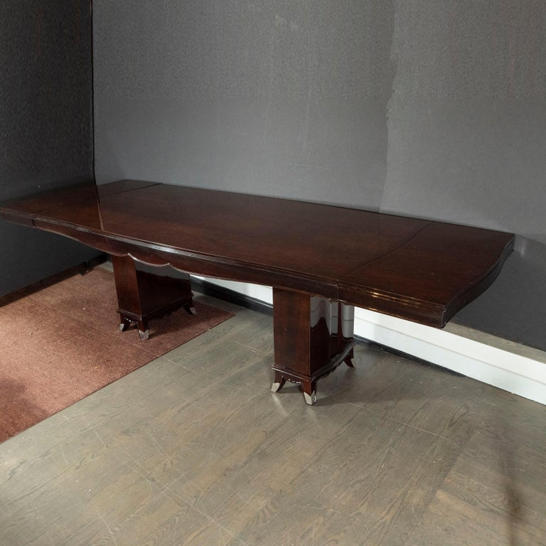 Art Deco Inlaid Mahogany Dining Table with Nickeled Sabots, Manner of Adnet For Sale 2