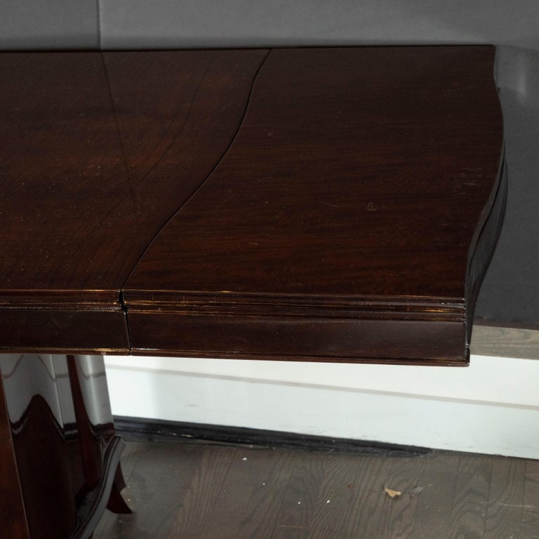 Art Deco Inlaid Mahogany Dining Table with Nickeled Sabots, Manner of Adnet For Sale 3