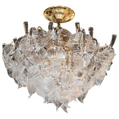 "Mid-Century Modern Handblown Glass ""Leaf"" Chandelier by Camer, Brass Fittings"
