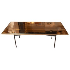 Midcentury Art Moderne Cocktail Table in Iron and Brass Mirror by Fontana Arte