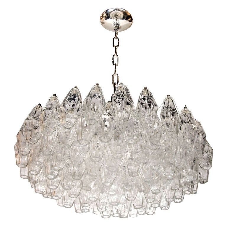 Modernist Handblown Translucent Murano Glass Polyhedral Chandelier