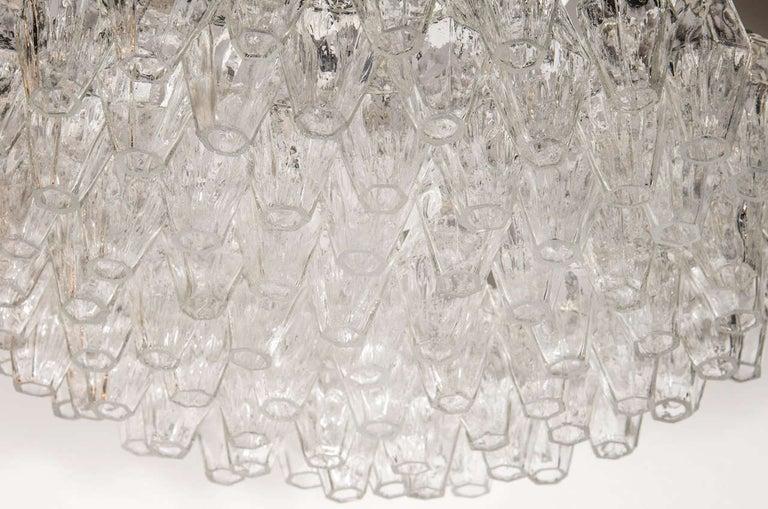 Mid-Century Modern Modernist Handblown Translucent Murano Glass Polyhedral Chandelier For Sale