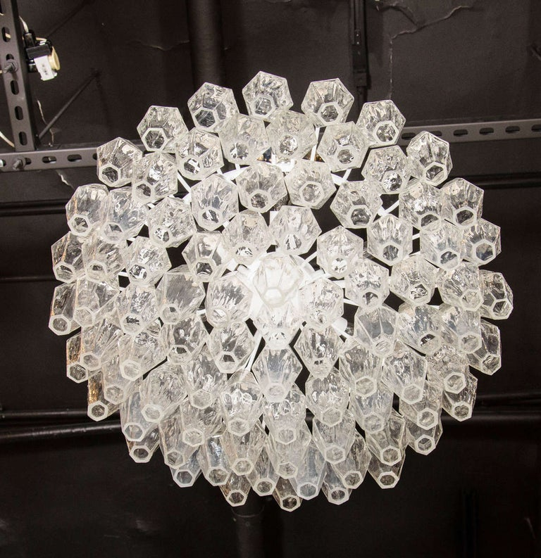 Contemporary Modernist Handblown Translucent Murano Glass Polyhedral Chandelier For Sale