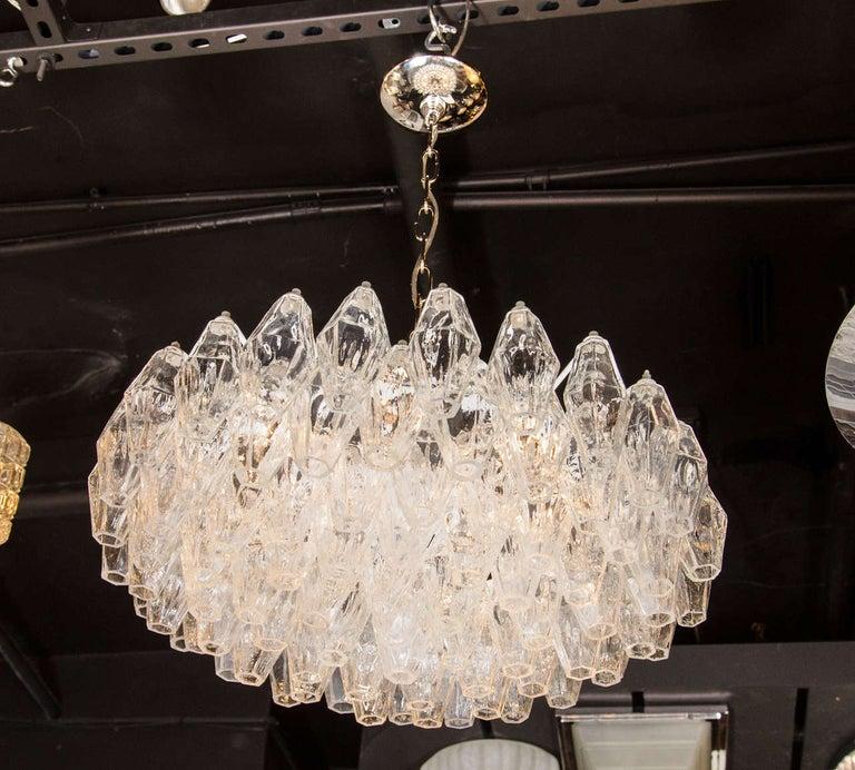 Modernist Handblown Translucent Murano Glass Polyhedral Chandelier For Sale 1