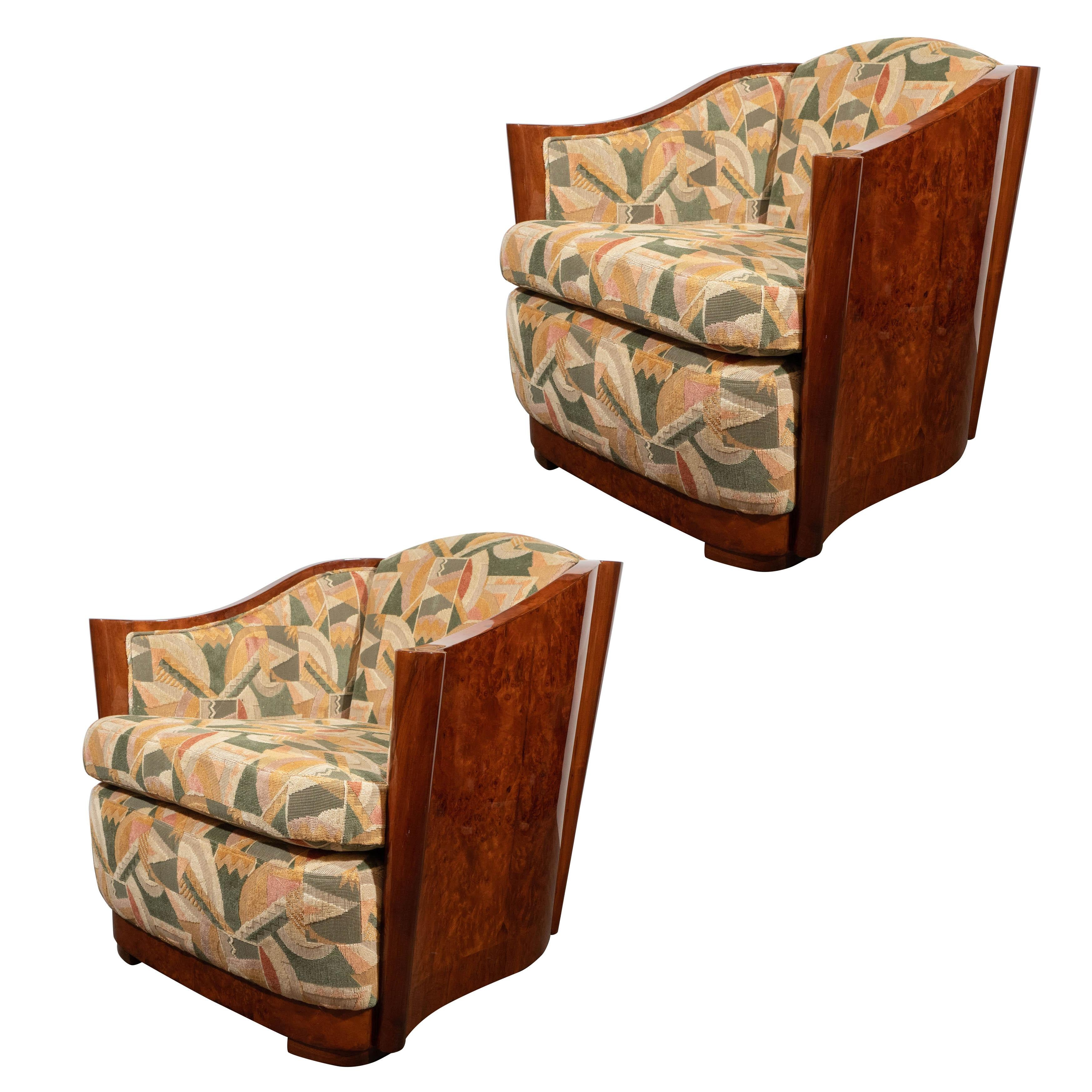 Pair Of High Style Art Deco Carpathian Elm Club Chairs In Clarence House  Fabric For Sale