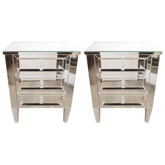 Pair of Hollywood Regency Style Custom Mirrored Nightstands with Three Drawers