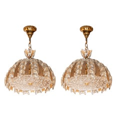 Pair of Crystal and Gilded Brass Chandeliers by Palwa of Germany