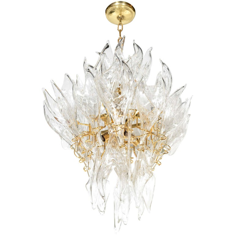 """Mid-Century Modern Handblown Murano Clear Glass """"Flame"""" Chandelier by Mazzega For Sale"""