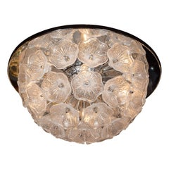 Hand Blown Murano Textured Glass Floral Chandelier with Polished Chrome Fittings