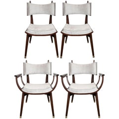 Set of Four Midcentury Klismos Game Chairs by Harold Schwartz for Romweber