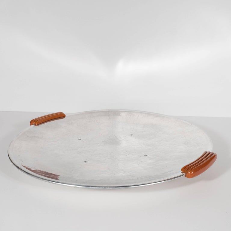 Art Deco Machine Age Hand-Hammered Aluminum & Bakelite Bar Tray by Guildcraft In Excellent Condition For Sale In New York, NY