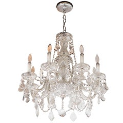 Hollywood Regency Fine Cut Crystal Chandelier with Cross Hatch Detailing