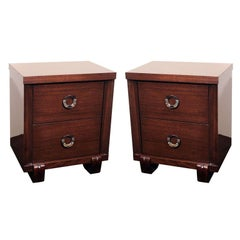 Pair of Mid-Century Modern Nightstands in Mahogany with Circular Nickel Pulls
