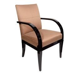 Mid-Century Modern Desk Chair in Ebonized Walnut and Copper Sharkskin