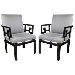 Pair of Mid-Century Modern Baker Occasional Chairs in Black Lacquer