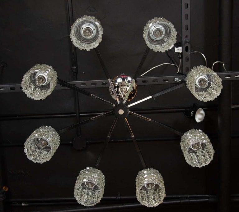 20th Century Mid-Century Modern Eight-Arm Chrome, Ebonized Walnut & Faceted Glass Chandelier For Sale