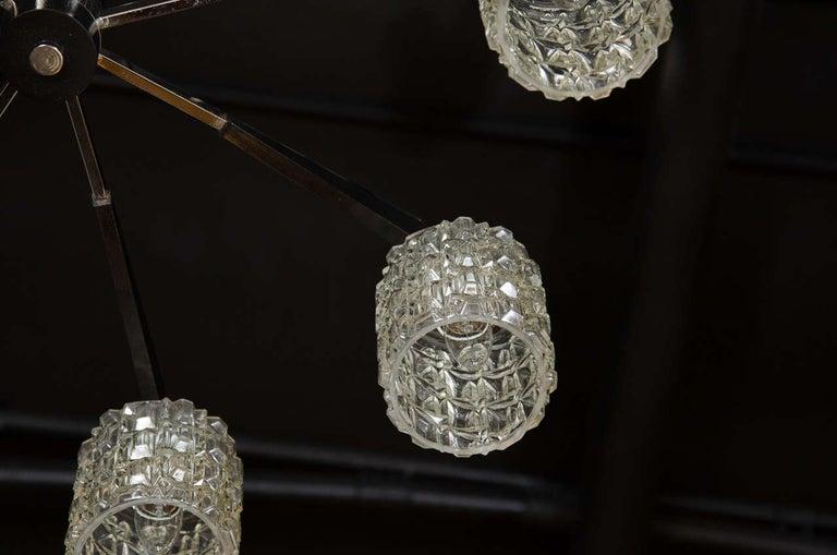 Cut Glass Mid-Century Modern Eight-Arm Chrome, Ebonized Walnut & Faceted Glass Chandelier For Sale
