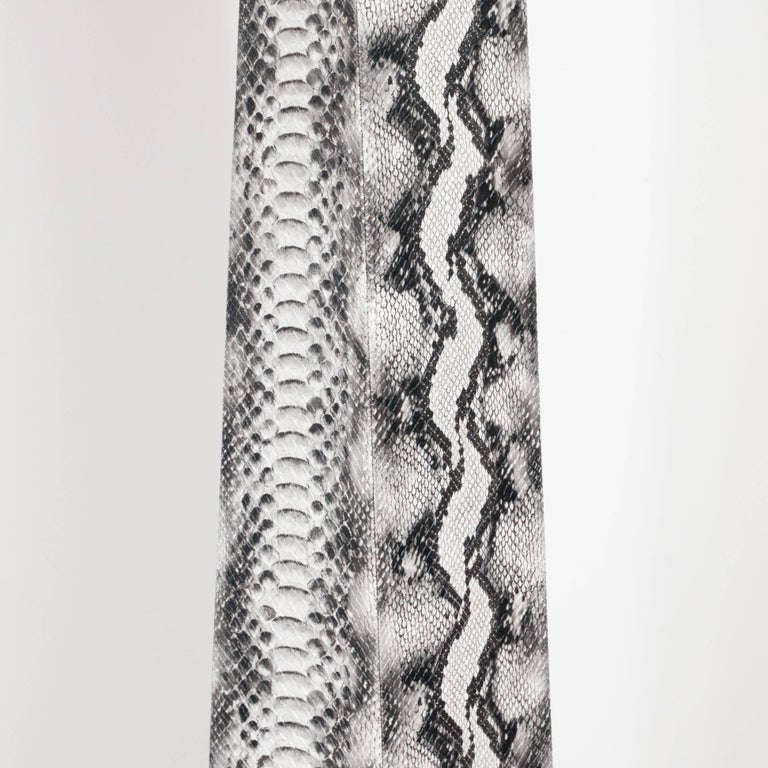Modern J. M. F. Floor Lamp in Grisaille Toned Faux Python Skin by Karl Springer For Sale