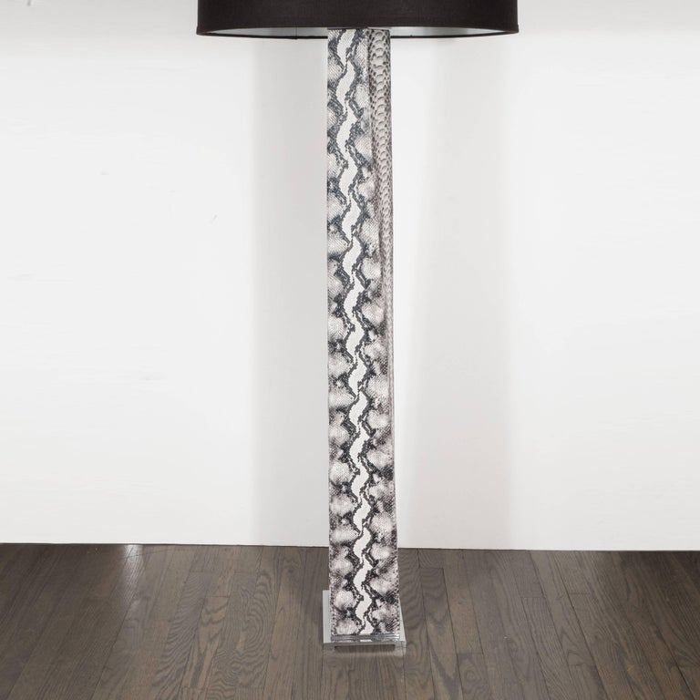 J. M. F. Floor Lamp in Grisaille Toned Faux Python Skin by Karl Springer In Excellent Condition For Sale In New York, NY
