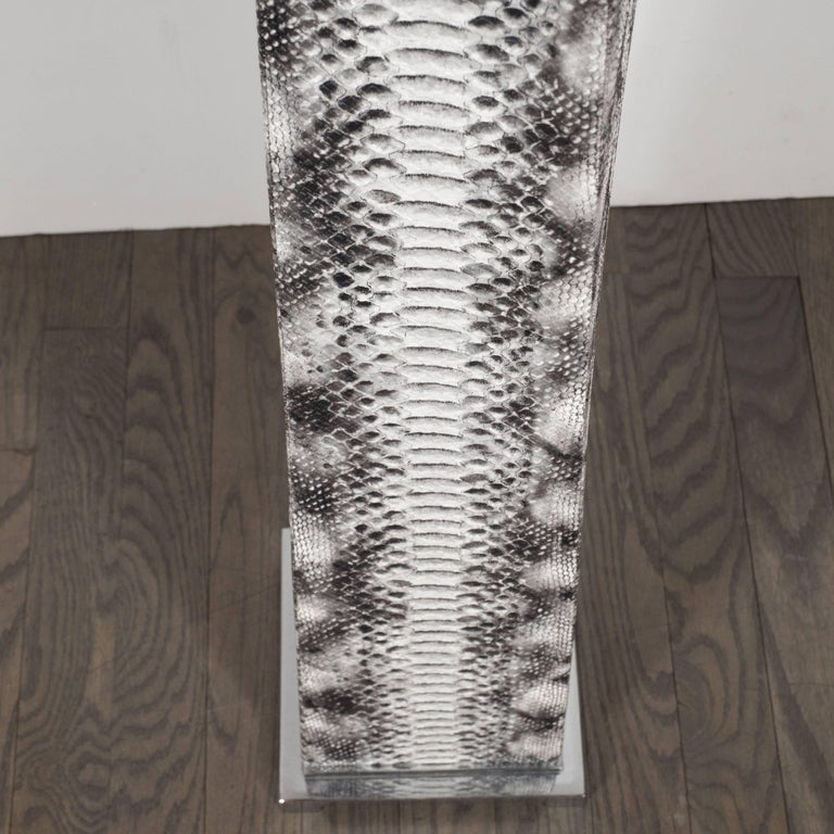 Faux Leather J. M. F. Floor Lamp in Grisaille Toned Faux Python Skin by Karl Springer For Sale
