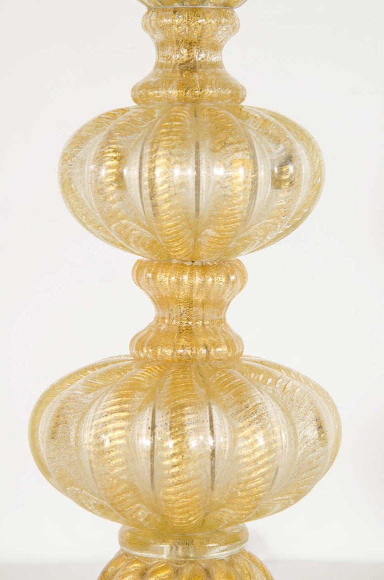 Mid-Century Modern Hand-Blown Table Lamp, 24kt Gold Flecks by Barovier e Toso For Sale 1