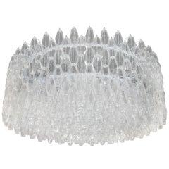Monumental Chrome & Handblown Smoked Murano Glass Polyhedral Venini Chandelier