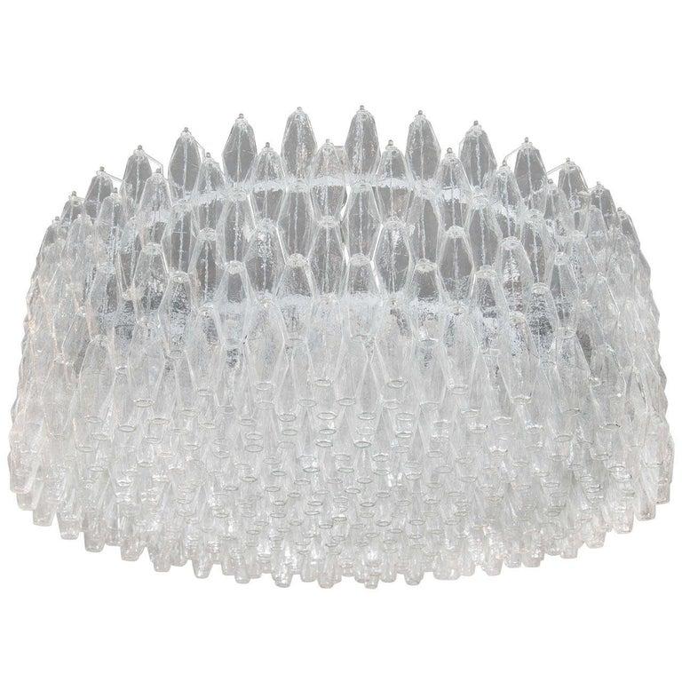 Monumental Chrome & Handblown Smoked Murano Glass Polyhedral Venini Chandelier For Sale