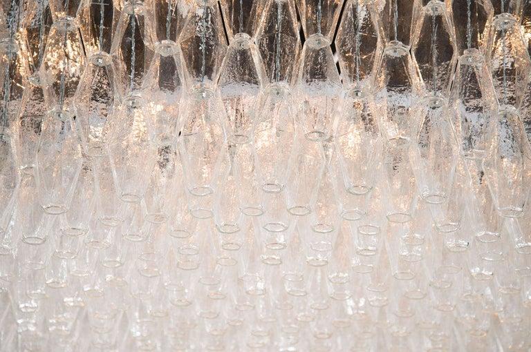 Italian Monumental Chrome & Handblown Smoked Murano Glass Polyhedral Venini Chandelier For Sale