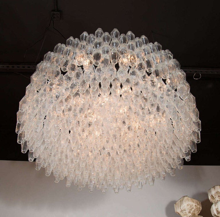 Monumental Chrome & Handblown Smoked Murano Glass Polyhedral Venini Chandelier In Excellent Condition For Sale In New York, NY
