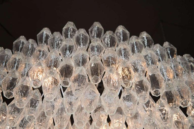 Monumental Chrome & Handblown Smoked Murano Glass Polyhedral Venini Chandelier For Sale 1