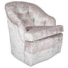 Mid-Century Modern Tufted Button Back Swivel Chair in Platinum Gauffraged Velvet