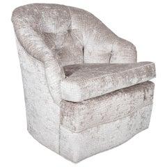 Mid-Century Modern Tufted Button Back Swivel Chair in Platinum Gauffraged Velvet