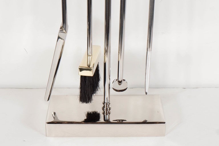 Modern Custom Four-Piece Fire Tool Set in Polished Nickel and Polished Brass Handles For Sale