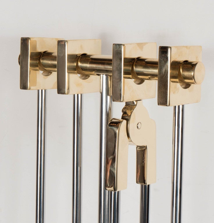 Custom Four Piece Fire Tool Set In Polished Nickel And