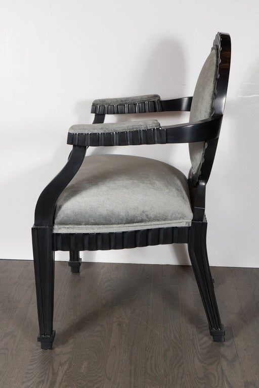 Late 20th Century Pair of Mid-Century Modern Chairs by Donghia in Ebonized Walnut For Sale