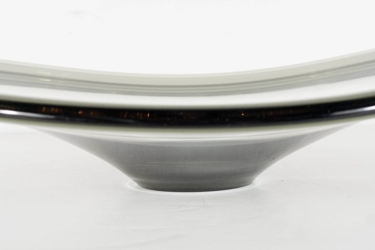 Danish Mid-Century Modernist Smoked Art Glass Bowl by Holmegaard For Sale