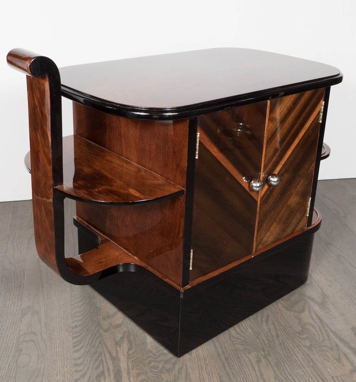 Mid-20th Century Streamlined Art Deco End Table or Dry Bar Cabinet in Book-Matched Exotic Walnut For Sale