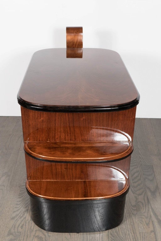 Streamlined Art Deco End Table or Dry Bar Cabinet in Book-Matched Exotic Walnut For Sale 1