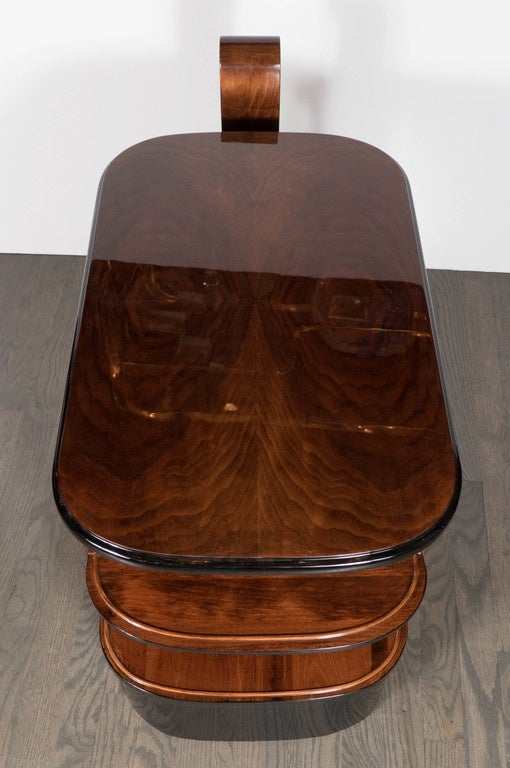 Streamlined Art Deco End Table or Dry Bar Cabinet in Book-Matched Exotic Walnut For Sale 2
