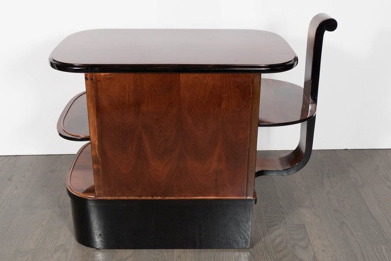 Streamlined Art Deco End Table or Dry Bar Cabinet in Book-Matched Exotic Walnut For Sale 3