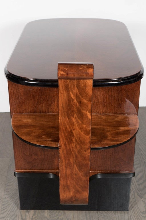 Streamlined Art Deco End Table or Dry Bar Cabinet in Book-Matched Exotic Walnut For Sale 4