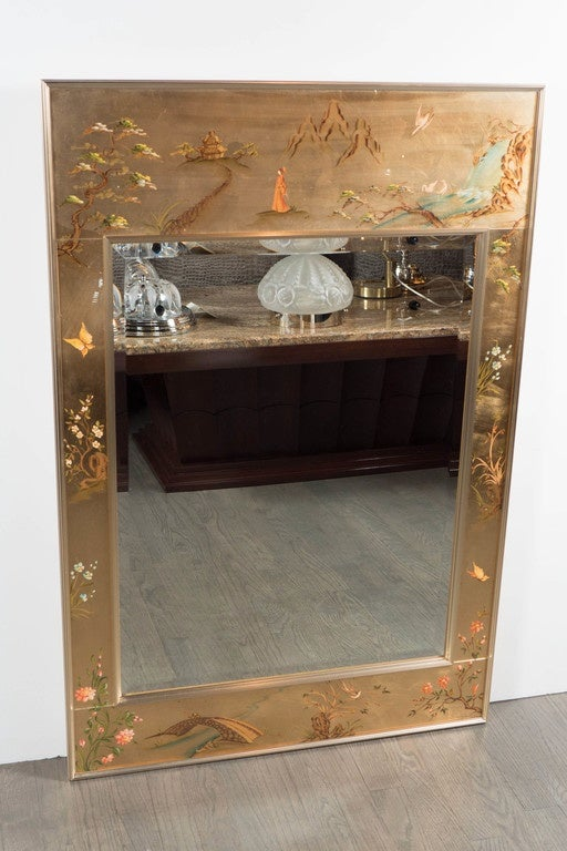 La Barge Chinoiserie Reverse Hand Painted And Gilded